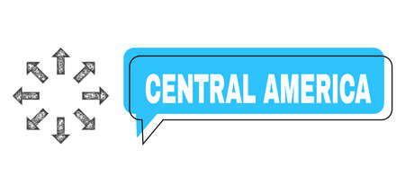 Conversation Central America blue cloud message and network expand arrows. Frame and colored area are shifted to Central America phrase, which is located inside blue colored cloud. Ilustracje wektorowe