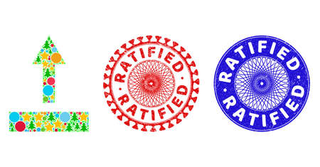 Pull up collage of Christmas symbols, such as stars, fir trees, colored round items, and RATIFIED scratched stamp seals. Vector RATIFIED stamp seals uses guilloche pattern,