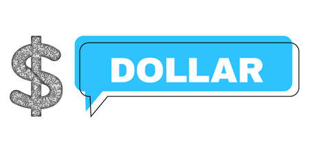 Chat Dollar blue cloud frame and wire frame dollar. Frame and colored area are misplaced for Dollar caption, which is located inside blue cloud. Vector quote tag inside chat frame.