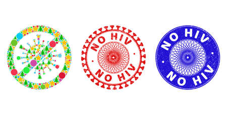 Stop coronavirus collage of Christmas symbols, such as stars, fir trees, color circles, and NO HIV corroded seals. Vector NO HIV stamps uses guilloche ornament, designed in red and blue variations. Ilustrace