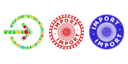 Import collage of Christmas symbols, such as stars, fir trees, bright round items, and IMPORT dirty stamp seals. Vector IMPORT watermarks uses guilloche ornament, designed in red and blue versions.