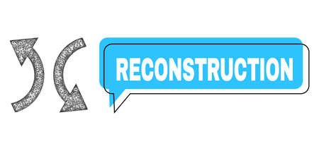 Chat Reconstruction blue cloud frame and net mesh exchange arrows. Frame and colored area are misplaced to Reconstruction caption, which is located inside blue colored banner.