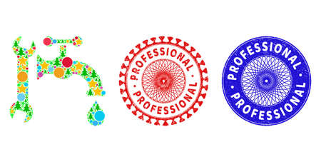 Plumbing composition of New Year symbols, such as stars, fir-trees, color circles, and PROFESSIONAL textured seals. Vector PROFESSIONAL seals uses guilloche pattern,