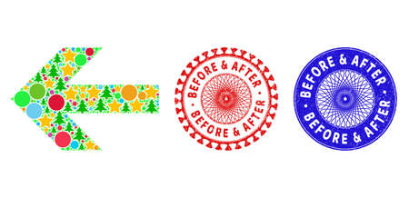 Arrow left collage of Christmas symbols, such as stars, fir-trees, color circles, and BEFORE & AFTER unclean stamp seals. Vector BEFORE & AFTER seals uses guilloche ornament,  イラスト・ベクター素材