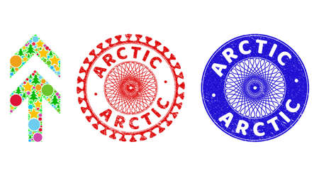 Arrow up composition of Christmas symbols, such as stars, fir trees, colored circles, and ARCTIC textured stamp seals. Vector ARCTIC stamp seals uses guilloche ornament,