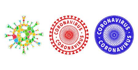 Coronavirus composition of Christmas symbols, such as stars, fir-trees, color round items, and CORONAVIRUS grunge stamp prints. Vector CORONAVIRUS watermarks uses guilloche pattern, Vecteurs