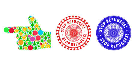 Hand pointer left composition of Christmas symbols, such as stars, fir trees, colored spheres, and STOP REFUGEES! rubber stamp imitations. Vector STOP REFUGEES! stamp seals uses guilloche pattern,