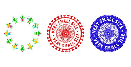 Radial arrows collage of Christmas symbols, such as stars, fir trees, color circles, and VERY SMALL SIZE scratched stamp seals. Vector VERY SMALL SIZE watermarks uses guilloche ornament,