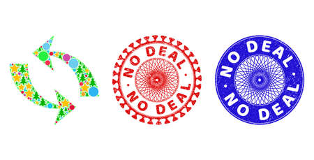 Refresh collage of New Year symbols, such as stars, fir-trees, color balls, and NO DEAL textured seals. Vector NO DEAL stamp seals uses guilloche pattern, designed in red and blue variations. Stars,