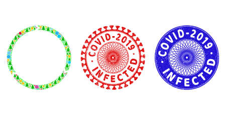 Rotation collage of New Year symbols, such as stars, fir-trees, multicolored round items, and COVID-2019 INFECTED rubber stamp imitations. Vector COVID-2019 INFECTED imprints uses guilloche ornament,