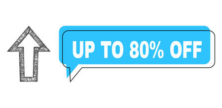 Speech Up to 80% Off blue cloud frame and net mesh arrow up. Frame and colored area are shifted to Up to 80% Off caption, which is located inside blue speech balloon.