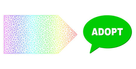 Adopt and direction right composition. Spectrum colored net direction right, and speech Adopt bubble frame. Speech colored Adopt cloud has shadow.