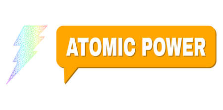 Atomic Power and execute composition. Spectrum colored net execute, and conversation Atomic Power cloud frame. Conversation colored Atomic Power cloud has shadow.