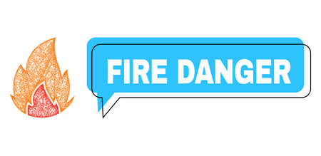 Chat Fire Danger blue bubble frame and wire frame fire. Frame and colored area are misplaced to Fire Danger caption, which is located inside blue colored bubble.