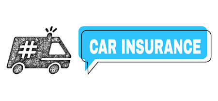 Speech Car Insurance blue cloud message and network jail police car. Frame and colored area are misplaced to Car Insurance text, which is located inside blue colored cloud.
