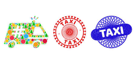 Jail police car mosaic of New Year symbols, such as stars, fir-trees, color round items, and TAXI unclean seals. Vector TAXI stamps uses guilloche pattern, designed in red and blue variations. Stars,