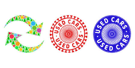 Refresh arrows collage of New Year symbols, such as stars, fir-trees, colored spheres, and USED CARS unclean stamp prints. Vector USED CARS stamp seals uses guilloche pattern, Stock Illustratie