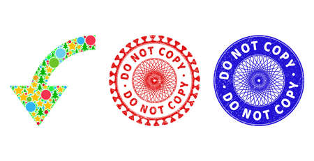 Rotate ccw collage of Christmas symbols, such as stars, fir trees, colored circles, and DO NOT COPY rubber stamp seals. Vector DO NOT COPY stamp seals uses guilloche ornament,