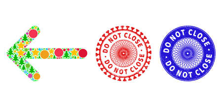 Arrow left collage of New Year symbols, such as stars, fir trees, color round items, and DO NOT CLOSE scratched stamp prints. Vector DO NOT CLOSE stamp seals uses guilloche ornament,