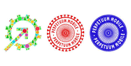 Cog integration composition of Christmas symbols, such as stars, fir-trees, multicolored balls, and PERPETUUM MOBILE rough stamp seals. Vector PERPETUUM MOBILE stamp seals uses guilloche ornament,