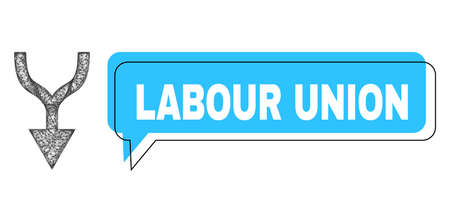 Speech Labour Union blue cloud message and net mesh combine arrow down. Frame and colored area are shifted for Labour Union caption, which is located inside blue colored banner.