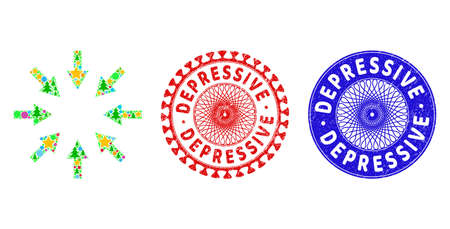 Compact arrows composition of Christmas symbols, such as stars, fir-trees, colored balls, and DEPRESSIVE corroded stamp seals. Vector DEPRESSIVE stamp seals uses guilloche pattern,