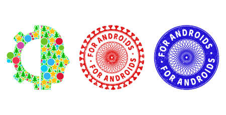 Cyborg gear mosaic of New Year symbols, such as stars, fir-trees, color spheres, and FOR ANDROIDS grunge stamp seals. Vector FOR ANDROIDS stamps uses guilloche ornament,