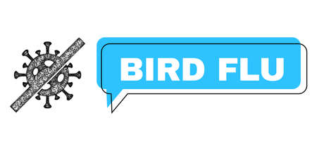 Conversation Bird Flu blue cloud frame and crossing mesh no flu virus. Frame and colored area are misplaced for Bird Flu label, which is located inside blue colored cloud.