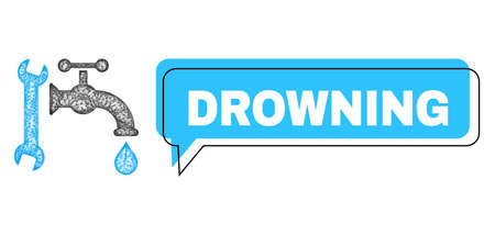 Chat Drowning blue bubble message and net plumbing. Frame and colored area are misplaced for Drowning caption, which is located inside blue colored bubble. Vector quote caption inside message frame. Illustration