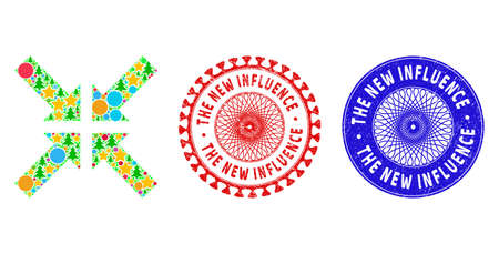 Pressure arrows composition of New Year symbols, such as stars, fir-trees, colored balls, and THE NEW INFLUENCE grunge stamp seals. Vector THE NEW INFLUENCE stamp seals uses guilloche ornament,