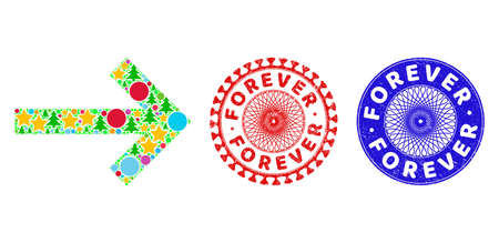 Right arrow mosaic of New Year symbols, such as stars, fir trees, multicolored balls, and FOREVER rough stamp seals. Vector FOREVER seals uses guilloche pattern, designed in red and blue colors.