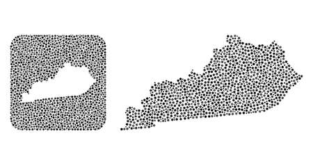 Map of Kentucky State mosaic created with round points and subtracted shape. Vector map of Kentucky State mosaic of dots in different sizes and silver shades. Created for education purposes.