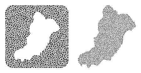Map of La Graciosa Island collage designed with round points and subtracted shape. Vector map of La Graciosa Island collage of round dots in different sizes and gray shades.