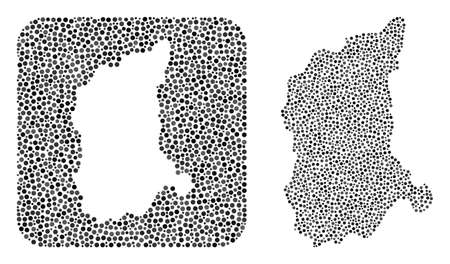 Map of Lubusz Province mosaic formed with rounded dots and cut out shape. Vector map of Lubusz Province mosaic of circle elements in variable sizes and gray shades.