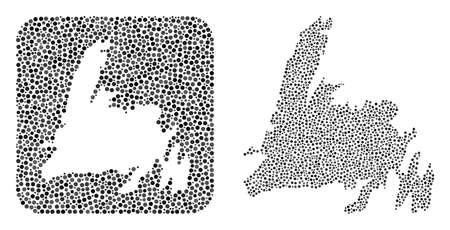 Map of Newfoundland Island collage composed with circle dots and subtracted shape. Vector map of Newfoundland Island collage of dots in variable sizes and gray shades. Created for abstract agitation. Vecteurs