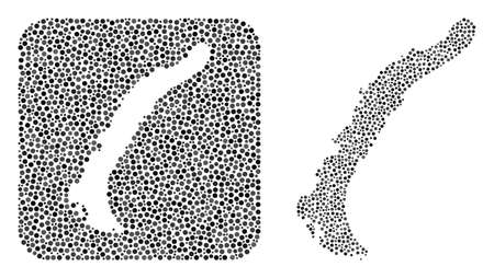 Map of Novaya Zemlya Islands mosaic designed with spheric dots and subtracted shape. Vector map of Novaya Zemlya Islands mosaic of circle spots in variable sizes and gray color tints.