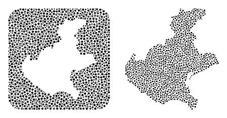 Map of Veneto region collage formed with spheric dots and subtracted space. Vector map of Veneto region collage of spheric dots in different sizes and silver shades. Created for abstract purposes.