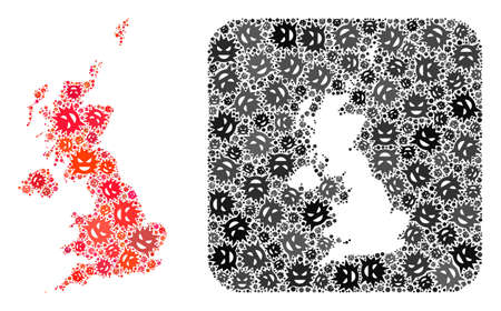 Sick virus map of United Kingdom mosaic created with rounded square and hole. Vector map of United Kingdom mosaic of evil virus ojects in different sizes and color tones.