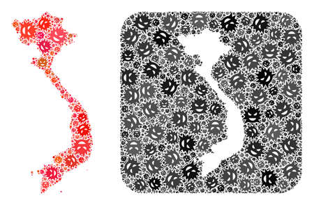 Sick virus map of Vietnam mosaic designed with rounded square and cut out shape. Vector map of Vietnam mosaic of evil virus parts in variable sizes and shades. Designed for geographic projects.