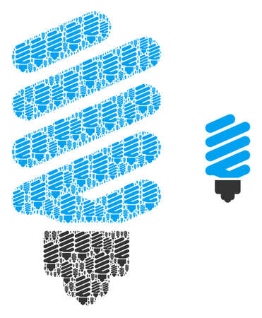 Fluorescent bulb icon collage is formed of randomized itself fluorescent bulb pictograms. itself vector composition of fluorescent bulb icons.