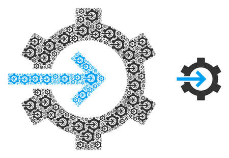 Cog integration icon fractal is done with random fractal cog integration items. Fractal vector collage of cog integration items. Vektoros illusztráció