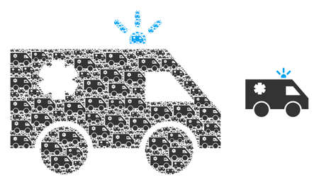 Emergency car icon composition is made from randomized itself emergency car pictograms. Fractal vector mosaic for emergency car pictograms.