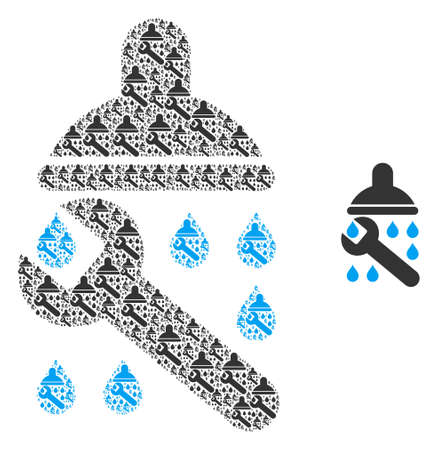 Shower plumbing icon collage is designed with random fractal shower plumbing pictograms. Fractal vector collage from shower plumbing pictograms.