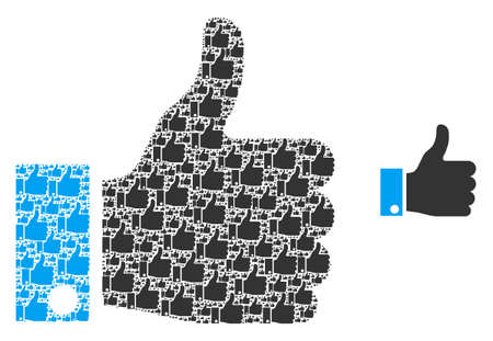 Thumb up icon mosaic is organized with scattered itself thumb up elements. itself vector mosaic of thumb up elements.