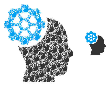 Head gear icon fractal is composed of random fractal head gear pictograms. Fractal vector collage of head gear icons.  イラスト・ベクター素材