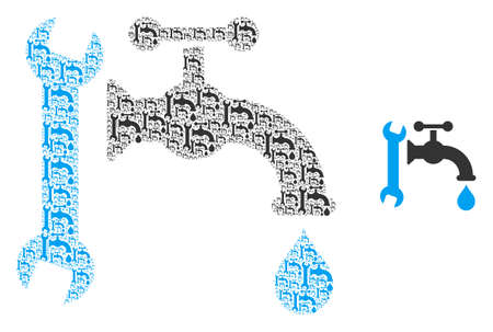 Plumbing icon collage is constructed of random fractal plumbing parts. Recursion vector combination of plumbing parts.  イラスト・ベクター素材