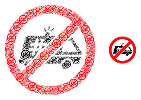 Stop jail police car icon collage is composed of repeating recursive stop jail police car elements. Fractal vector collage of stop jail police car items.  イラスト・ベクター素材