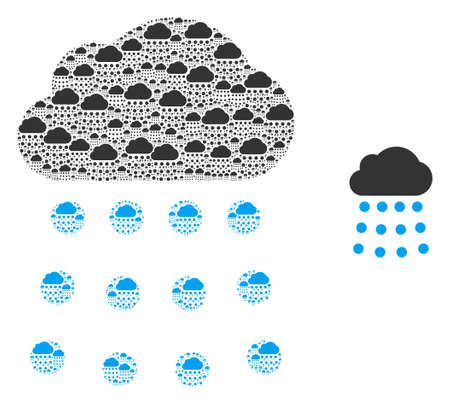 Rain cloud icon composition is made from scattered recursive rain cloud pictograms. Recursion vector mosaic from rain cloud pictograms.