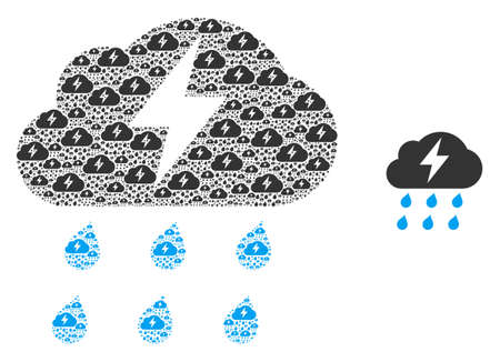 Thunderstorm icon mosaic is formed of repeating itself thunderstorm parts. itself vector collage of thunderstorm pictograms.  イラスト・ベクター素材