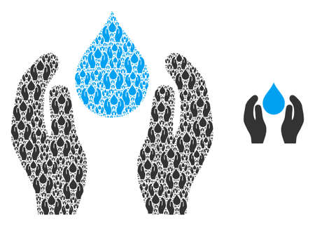 Water care icon collage is designed of random recursive water care items. Recursive vector combination of water care pictograms.